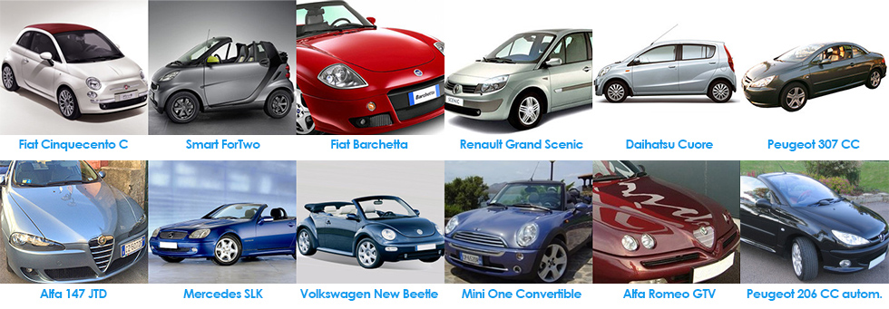 Naples Car Rent convertibles, sports and automatic car fleet